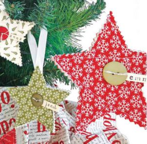 Simple fabric quilted Christmas ornaments free sewing pattern