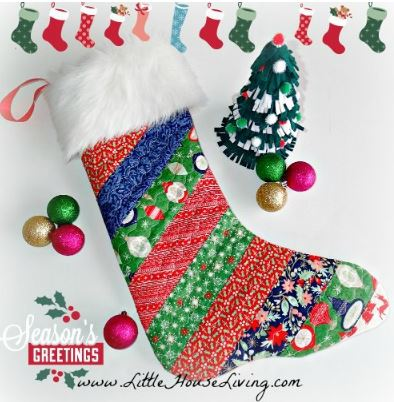 Christmas stocking from scraps with fur cuff free sewing pattern