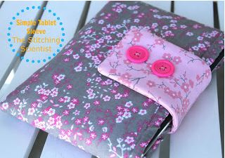 Fabric tablet sleeve with button flap closure free sewing pattern