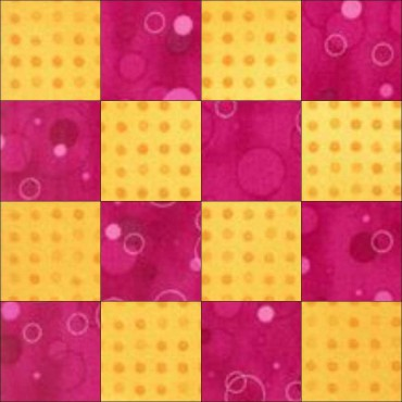 Simple sixteen patch nine inch quilt block pattern with squares