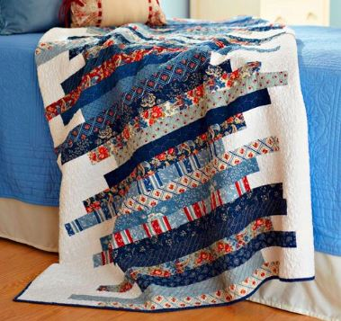 Quilt from jelly roll fabric strips free sewing pattern