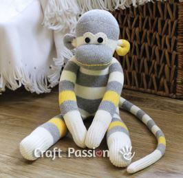 Monkey stuffed animal from socks free sewing pattern