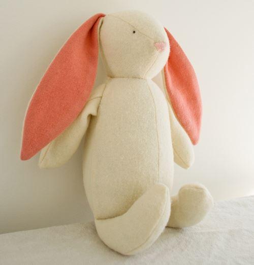 Wool bunny rabbit with long floppy ears free stuffed animal sewing pattern