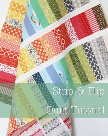 Jelly roll quilt with rows of strips free sewing pattern