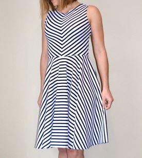 Women's sleeveless striped summer dress sewing pattern