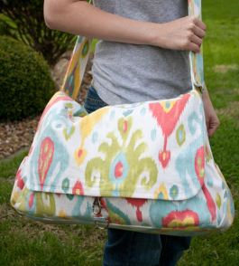 Large diaper bag sewing pattern with flap closure