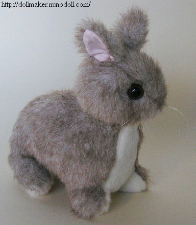 Baby bunny rabbit with short ears from fur stuffed animal free sewing pattern