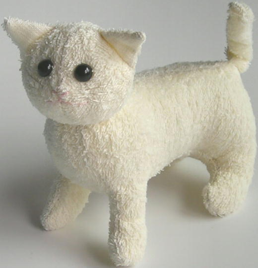 Cat or kitten stuffed animal from terry cloth free sewing pattern