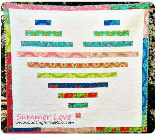 Heart design quilt from jelly roll fabric strips free sewing pattern