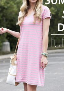 Womens short sleeve knit shift dress for summer free sewing pattern