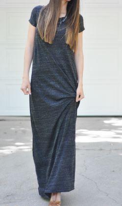 Womens short sleeve knit maxi dress free sewing pattern