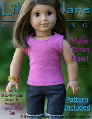 American girl 18 inch doll sleeveless tank top free sewing pattern