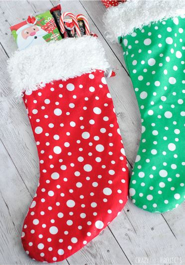 Quick and easy Christmas stockings with fur cuffs free sewing pattern