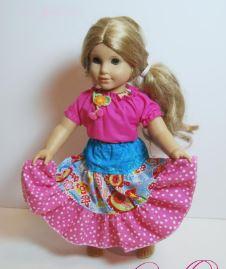 American girl 18 inch doll long twirly skirt free sewing pattern