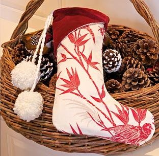 Velvet christmas stocking to sew with cuff free pattern