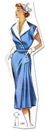 Short sleeve 1950s dress with collar and slim skirt free sewing pattern