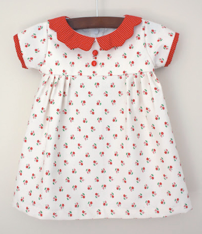 Vintage short sleeve baby dress with collar sewing pattern