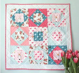 Nine patch mini quilt with diamonds and squares free pattern