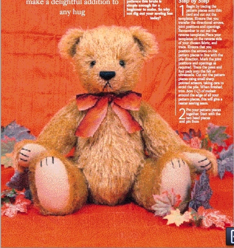 Fully jointed vintage teddy bear free sewing pattern