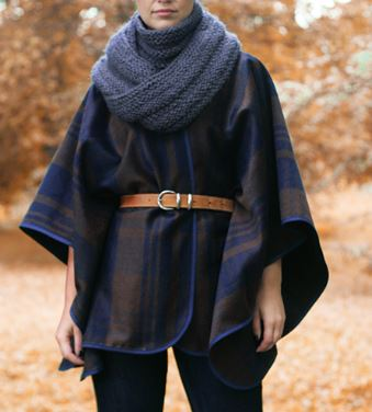 Easy wool cape or poncho from blanket free sewing pattern